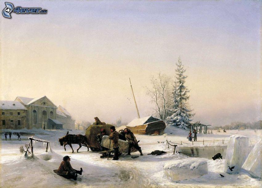 mężczyźni, śnieżny krajobraz