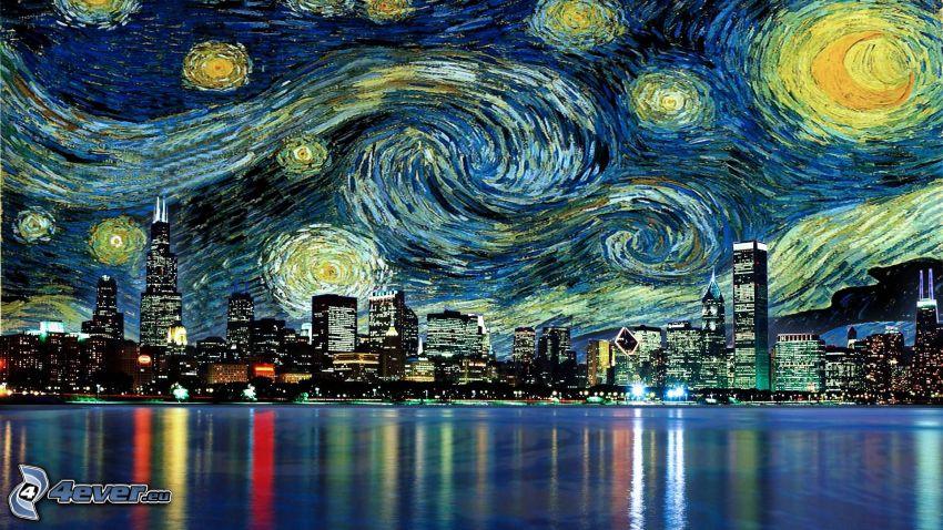 miasto nocą, Chicago, Vincent Van Gogh - Gwiaździsta noc, parodia