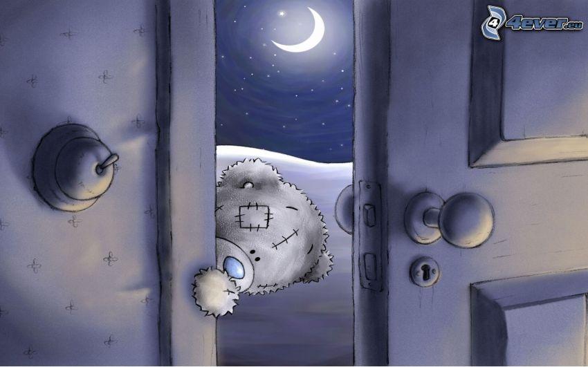 miś, drzwi, księżyc, noc