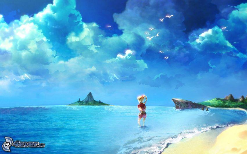 morze, niebo, dziewczyna, wyspa