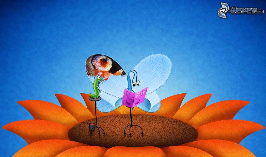motyl, książka, zielona gąsienica, słonecznik