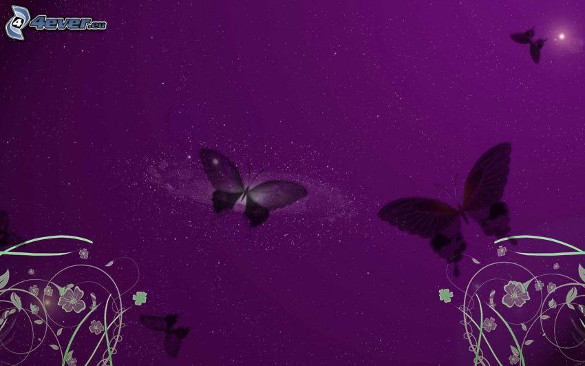 Motyle, fioletowe tło