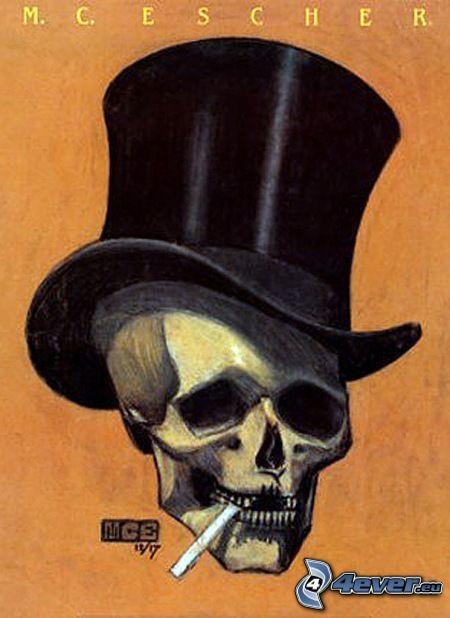 czaszka, papieros, Cylinder, kapelusz