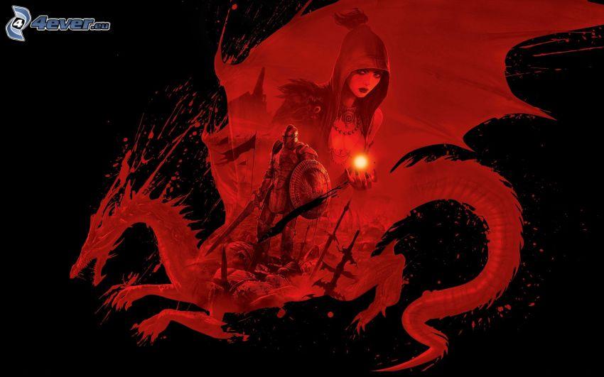 czerwony smok, wojownik