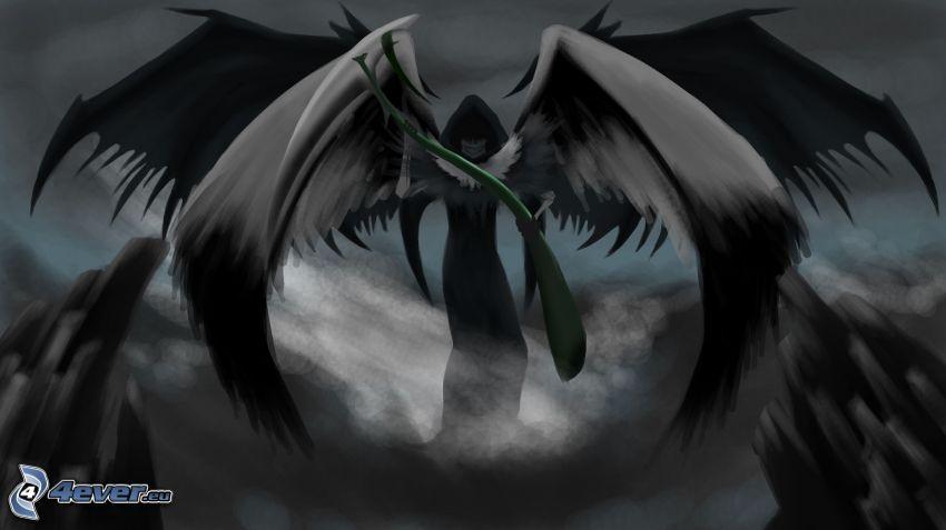 kostucha, czarne skrzydła