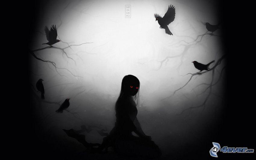 mroczna dziewczyna, ptaki, ciemność