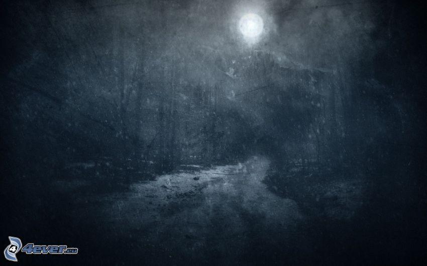 mroczny krajobraz, księżyc, ciemne niebo, noc