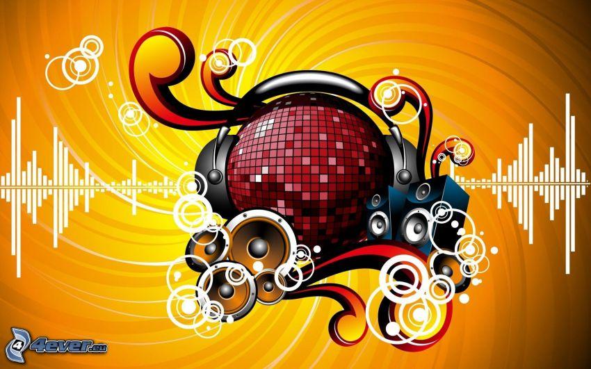 muzyka, dyskotekowa kula, głośniki, słuchawki