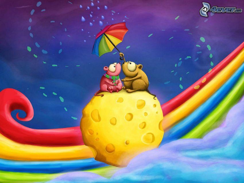 myszy, ser, parasol, krople deszczu, tęcza