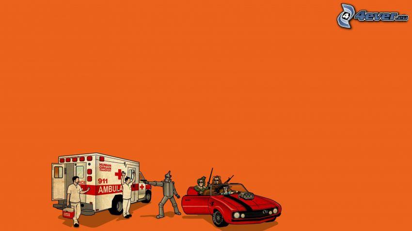 napaść, ambulans, robot, rysowany samochód, kabriolet