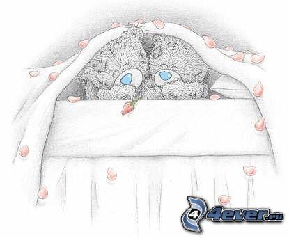niedźwiadki, rysowane, miłość, para, łóżko