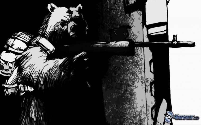 niedźwiedź, broń