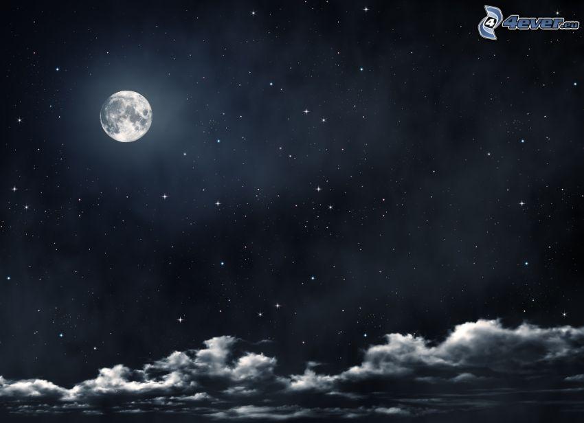noc, Księżyc, chmury, niebo w nocy