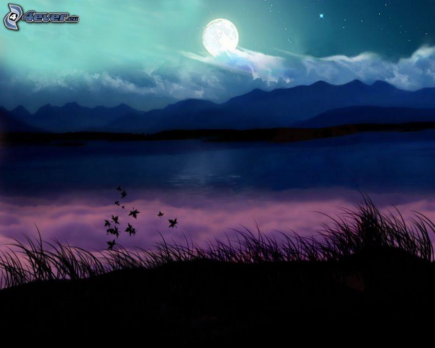 noc, księżyc, jezioro, pasmo górskie, trawa