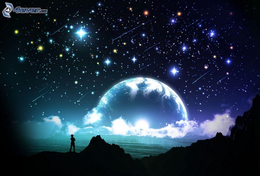 noc, Planeta Ziemia, człowiek, sylwetka, gwiaździste niebo