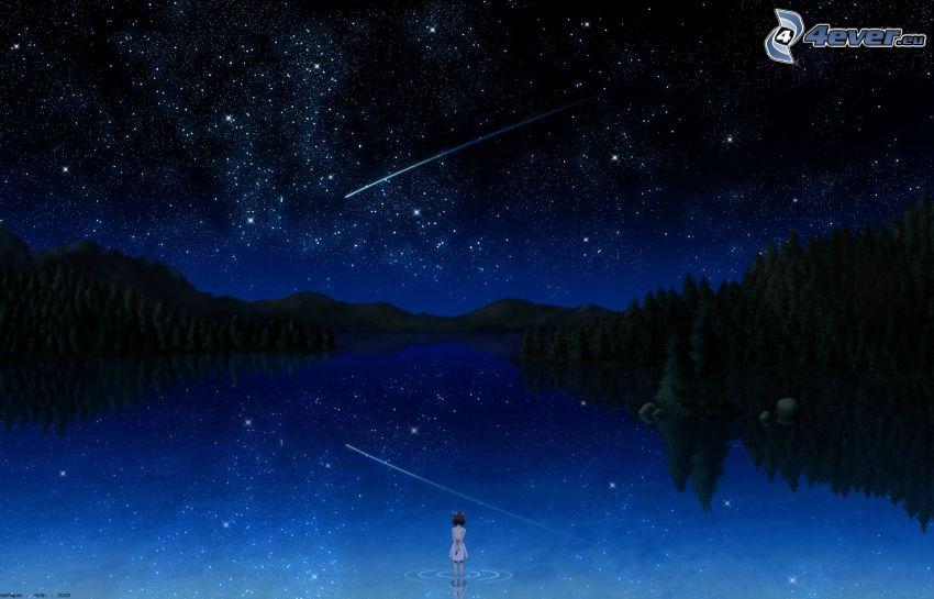 noc, rzeka, kometa, niebo w nocy, dziewczyna