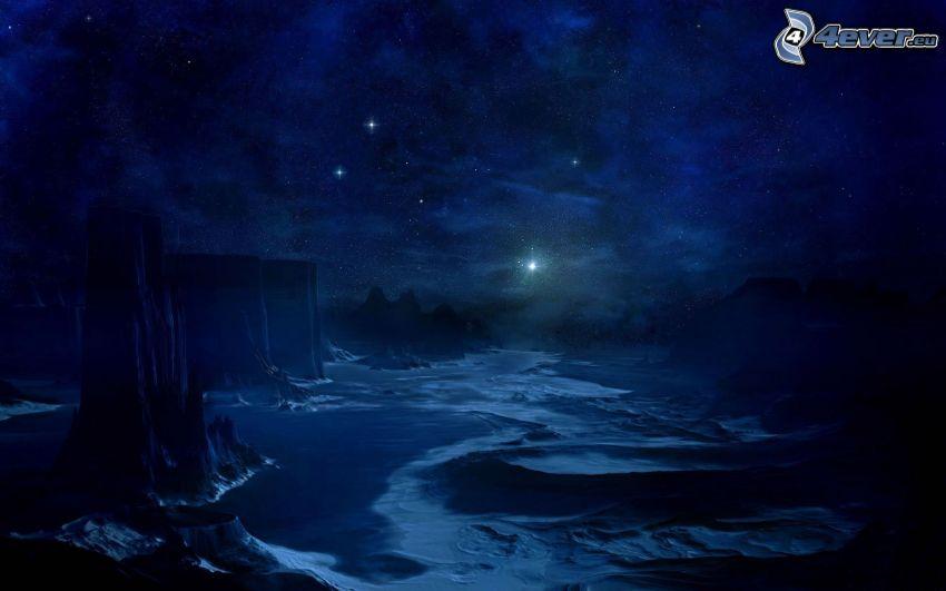 noc, skały, gwiazdy