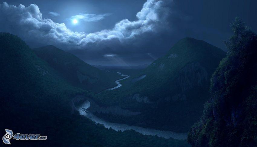 nocny krajobraz, góry, rzeka, księżyc