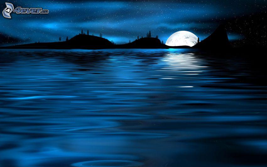 nocny krajobraz, morze, księżyc, horyzont