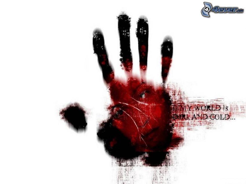 odcisk ręki, twarz, krwawa ręka