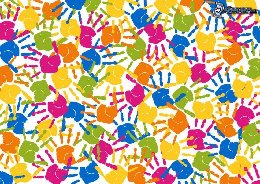 odciski rąk, kolorowe
