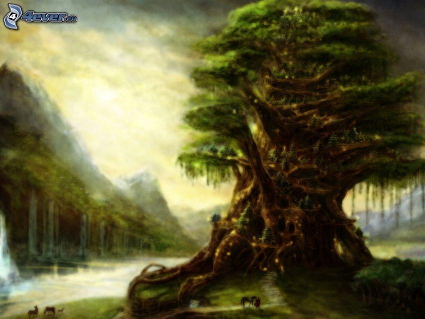 ogromne drzewo, wodospady, góry