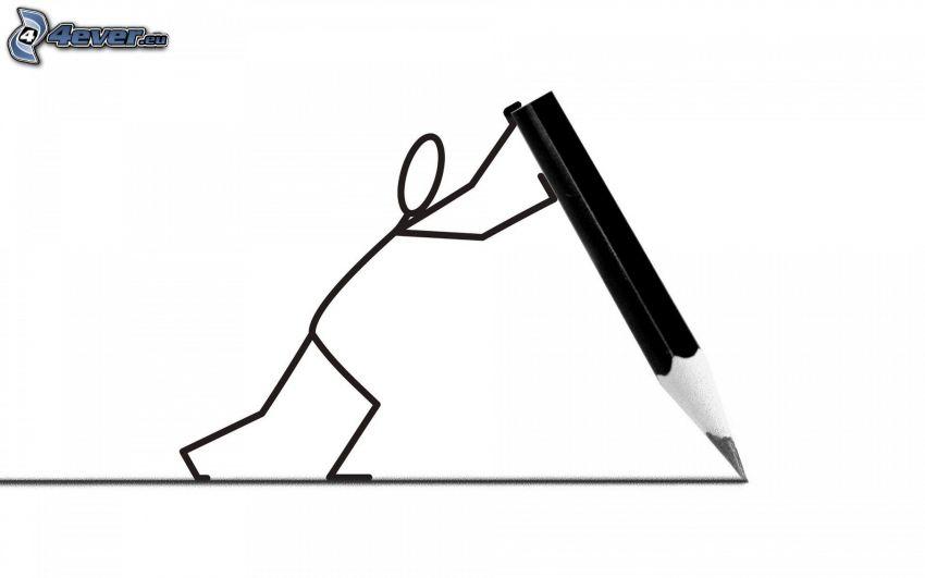 ołówek, figurka, kreska