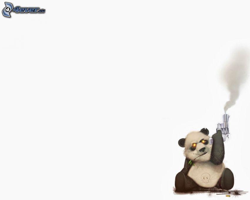 panda, pistolet, dym