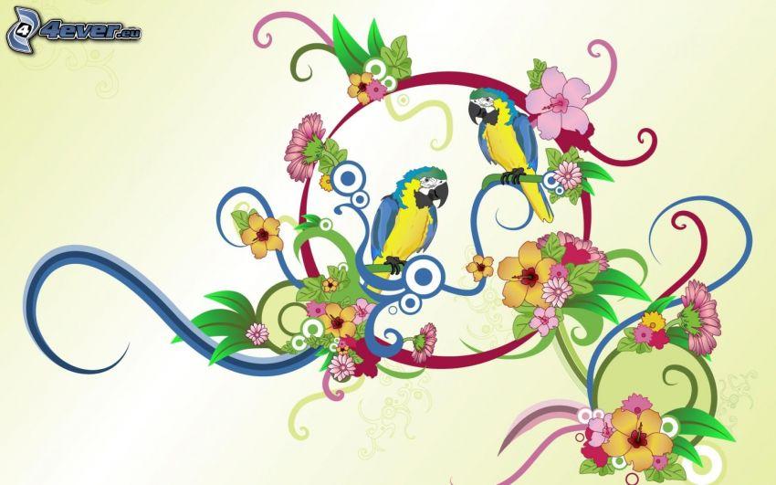 papugi, ary, rysunkowe, kwiaty