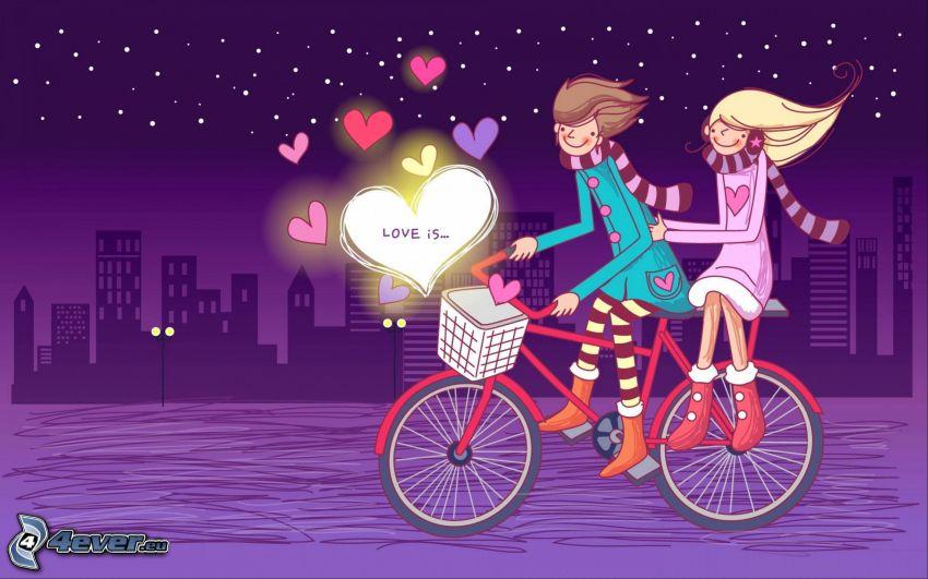 para, miasto nocą, rysunkowe serca, rower