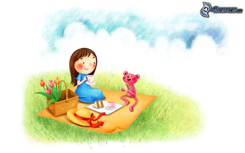 piknik, rysowana dziewczynka, miś, tulipany
