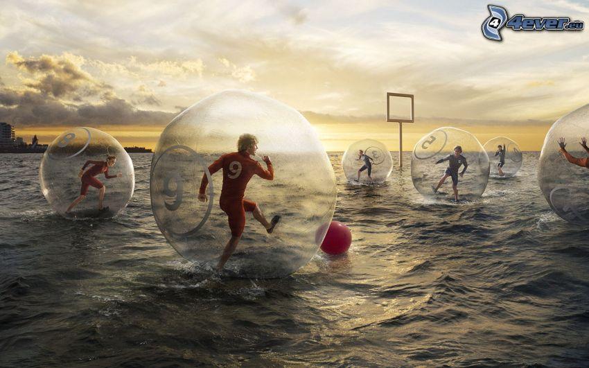 piłka nożna, woda, kule