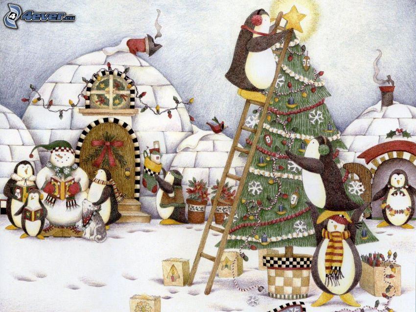 pingwiny, choinka, igloo, śnieg