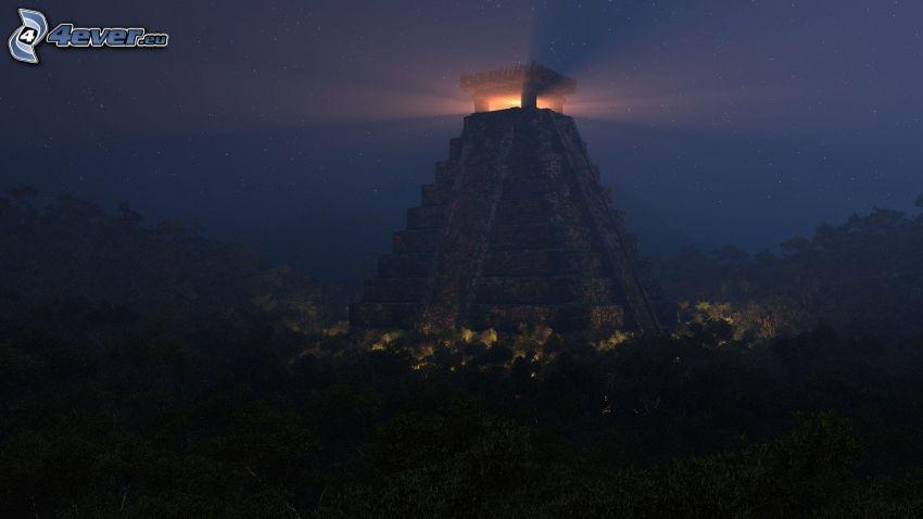 piramida, budowla, światło