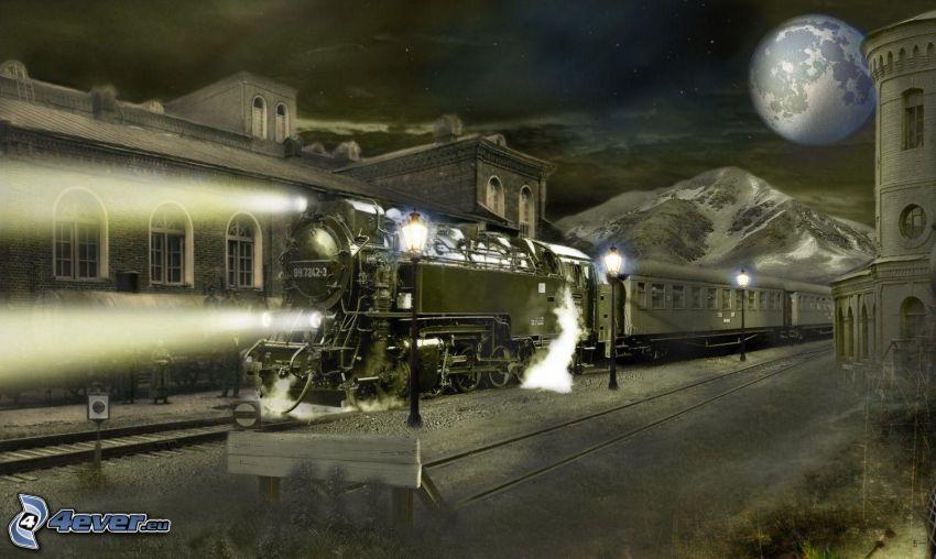pociąg parowy, księżyc, noc, światła