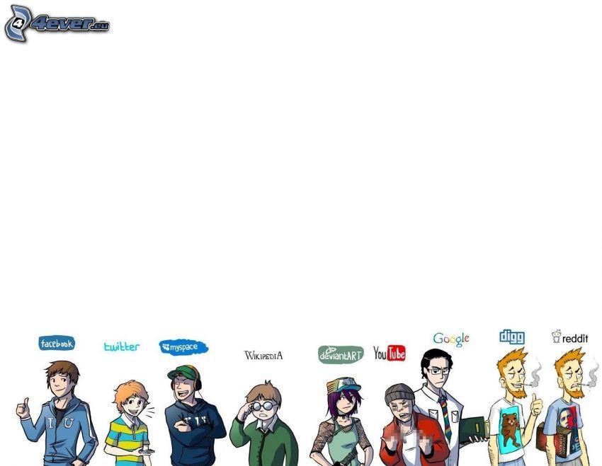 postacie z kreskówek, loga, facebook, Twitter, Google