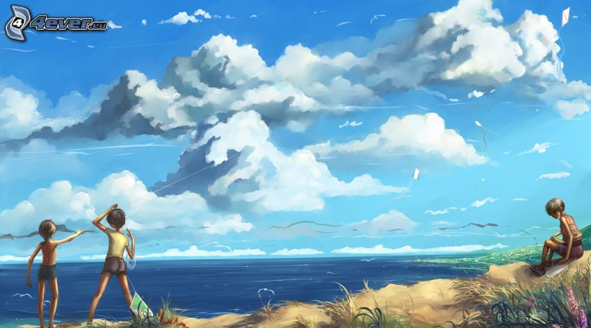 postacie z kreskówek, morze, chmury