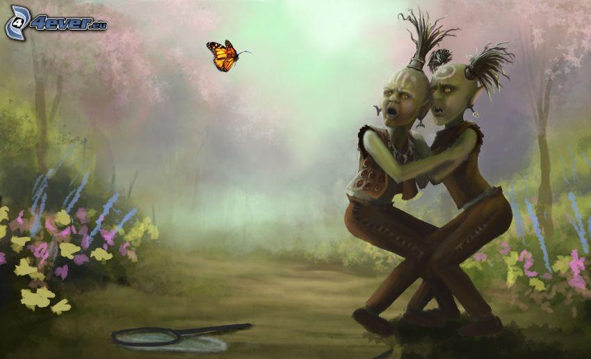 postacie z kreskówek, motyl