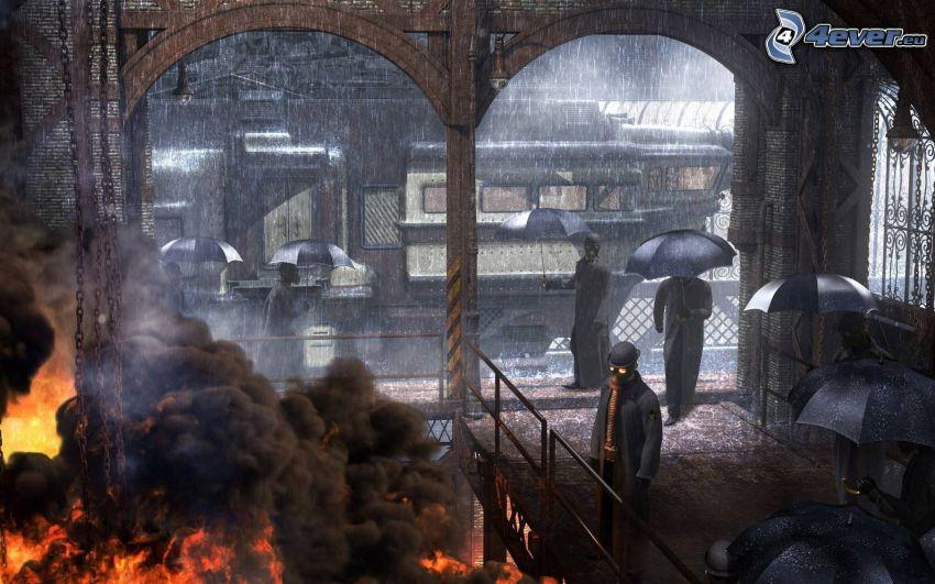 postacie z kreskówek, pożar, deszcz