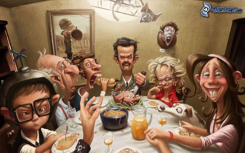 postacie z kreskówek, rodzina, karykatura, kolacja
