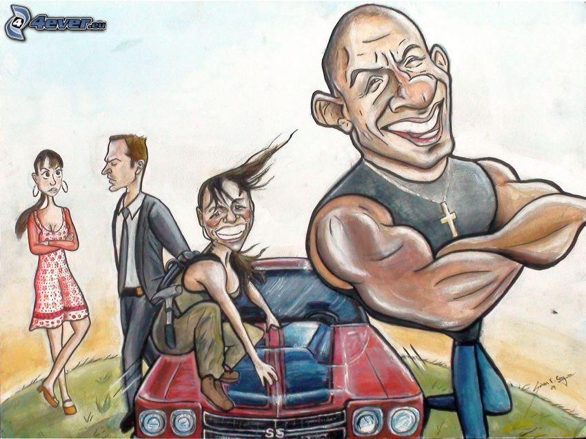 postacie z kreskówek, Vin Diesel, karykatura, rysowany samochód