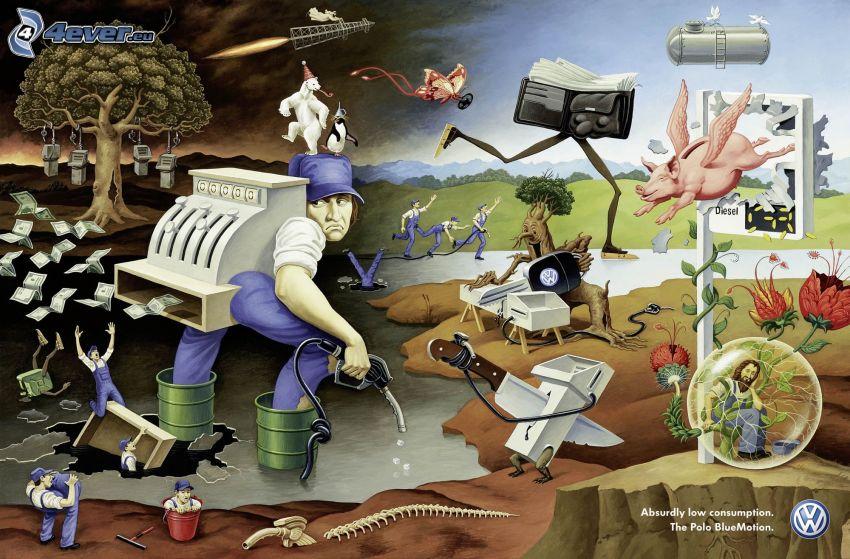 postacie z kreskówek, volkswagen, reklama