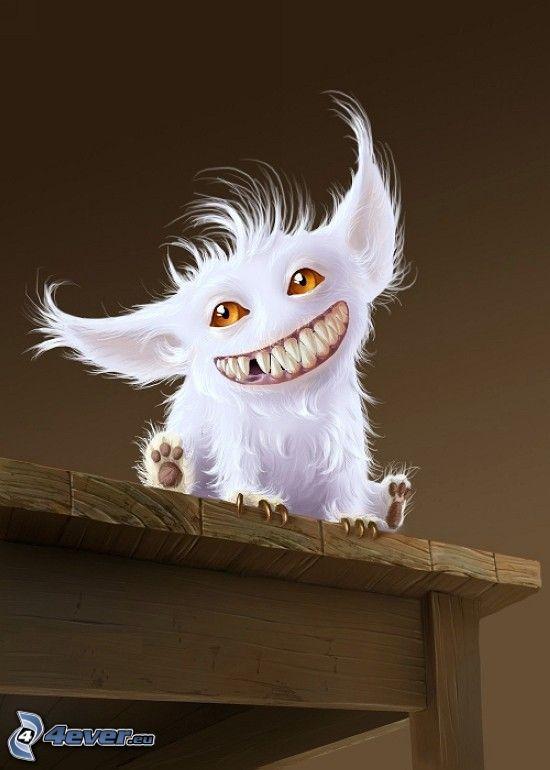 potworek, uśmiech, zęby, stół