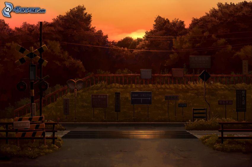 przejazd kolejowy, po zachodzie słońca