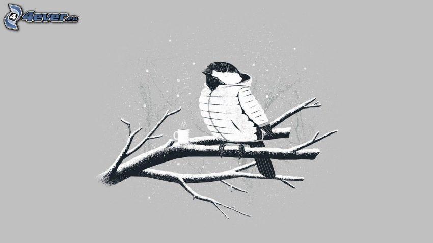 ptaszek na gałęzi, filiżanka herbaty, opady śniegu