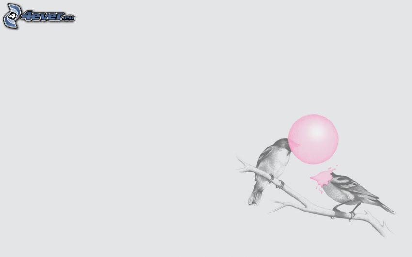 ptaszki na gałęzi, bańka, guma do żucia