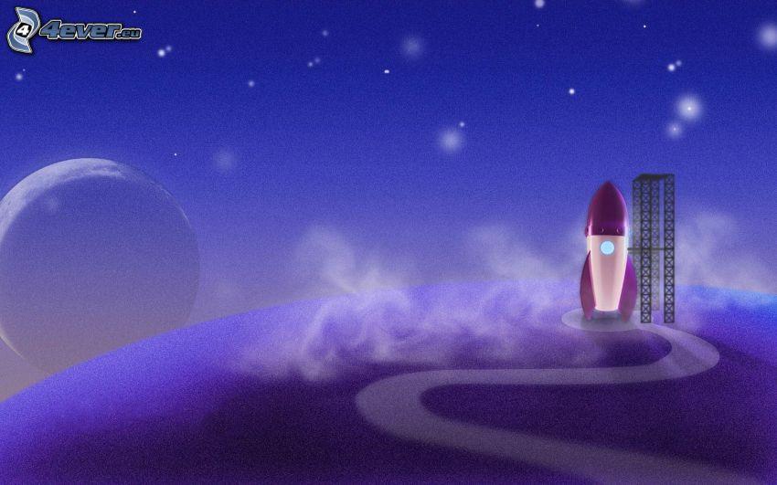 rakieta, księżyc, noc