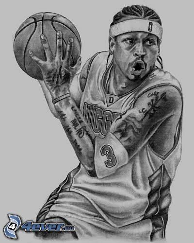 Allen Iverson, rysunkowy mężczyzna, murzyn, piłka