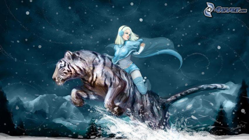 biały tygrys, blondynka, opady śniegu