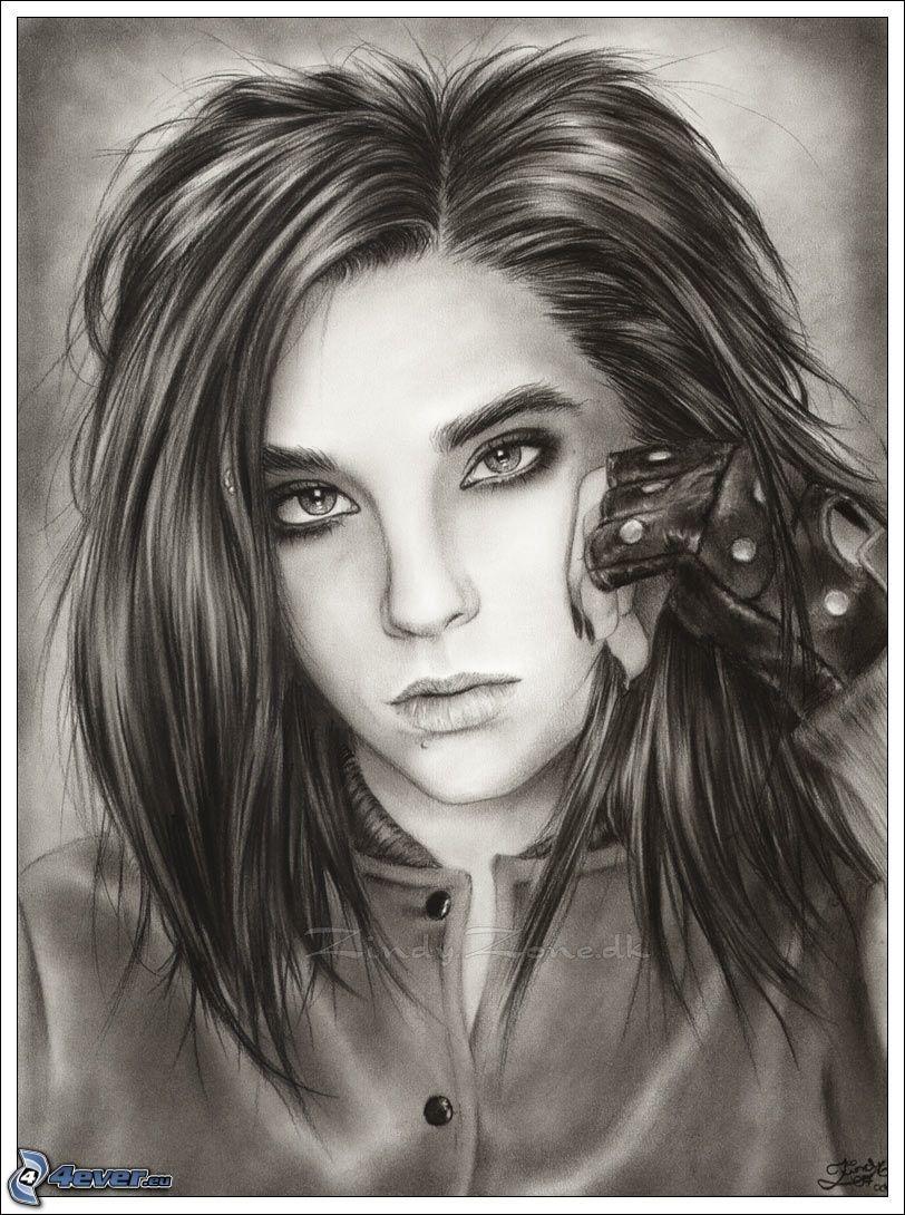 Bill Kaulitz, Tokio Hotel, rysowane, sztuka